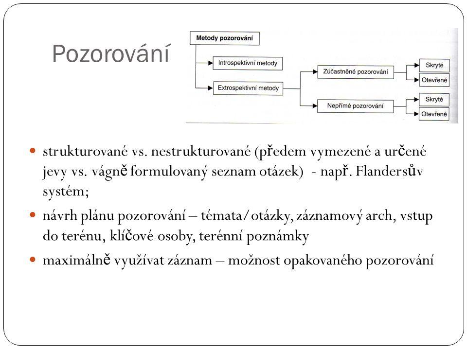 Pozorování strukturované vs. nestrukturované (p ř edem vymezené a ur č ené jevy vs. vágn ě formulovaný seznam otázek) - nap ř. Flanders ů v systém; ná