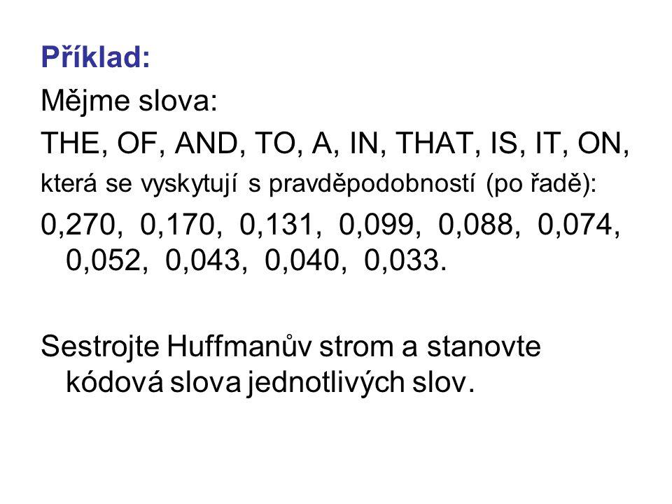 Příklad: Mějme slova: THE, OF, AND, TO, A, IN, THAT, IS, IT, ON, která se vyskytují s pravděpodobností (po řadě): 0,270, 0,170, 0,131, 0,099, 0,088, 0,074, 0,052, 0,043, 0,040, 0,033.