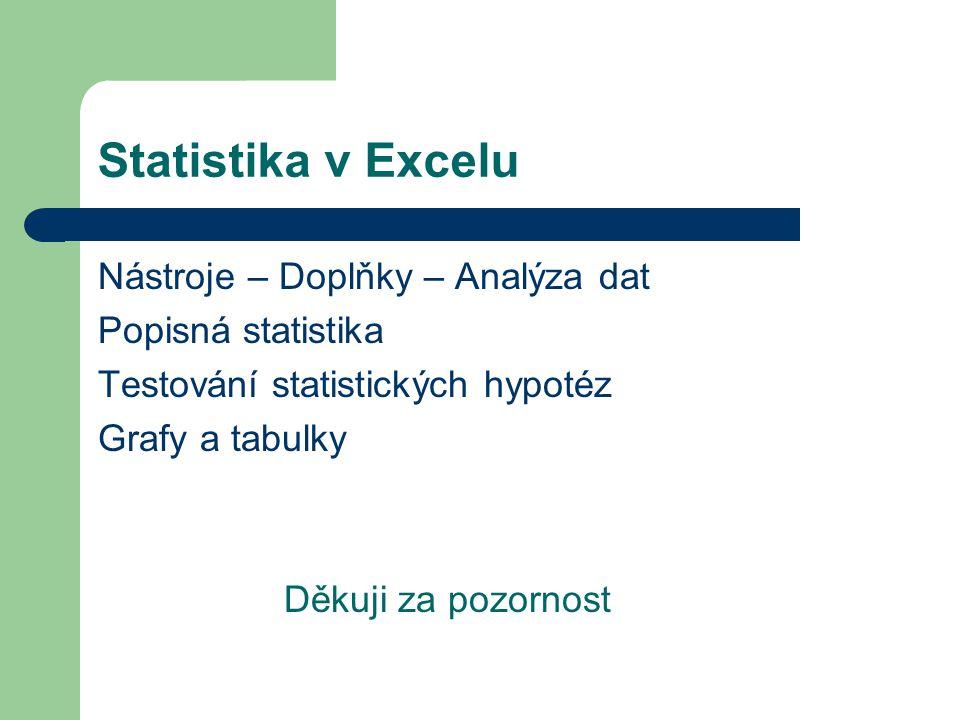Statistika v Excelu Nástroje – Doplňky – Analýza dat Popisná statistika Testování statistických hypotéz Grafy a tabulky Děkuji za pozornost