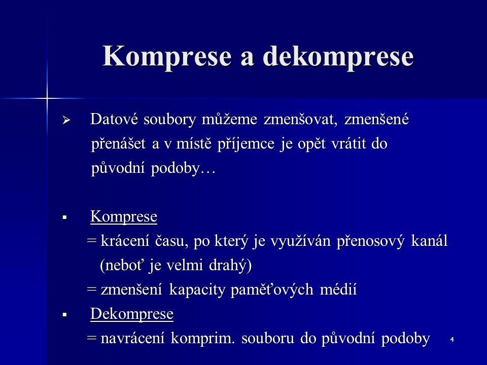 4 Komprese a dekomprese  Datové soubory můžeme zmenšovat, zmenšené přenášet a v místě příjemce je opět vrátit do přenášet a v místě příjemce je opět