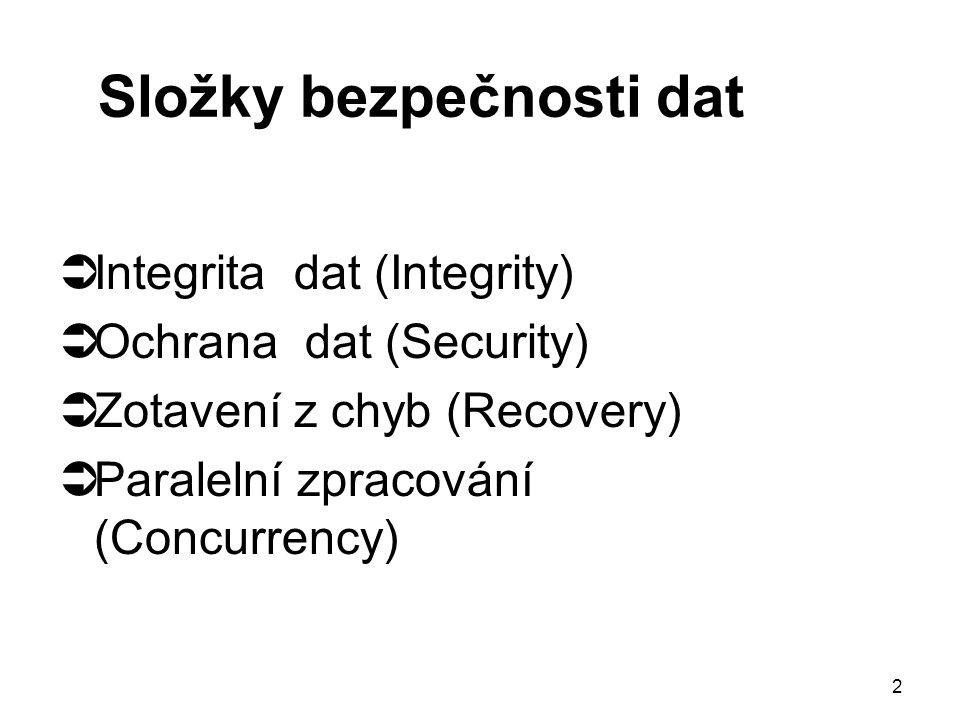 2 Složky bezpečnosti dat  Integrita dat (Integrity)  Ochrana dat (Security)  Zotavení z chyb (Recovery)  Paralelní zpracování (Concurrency)