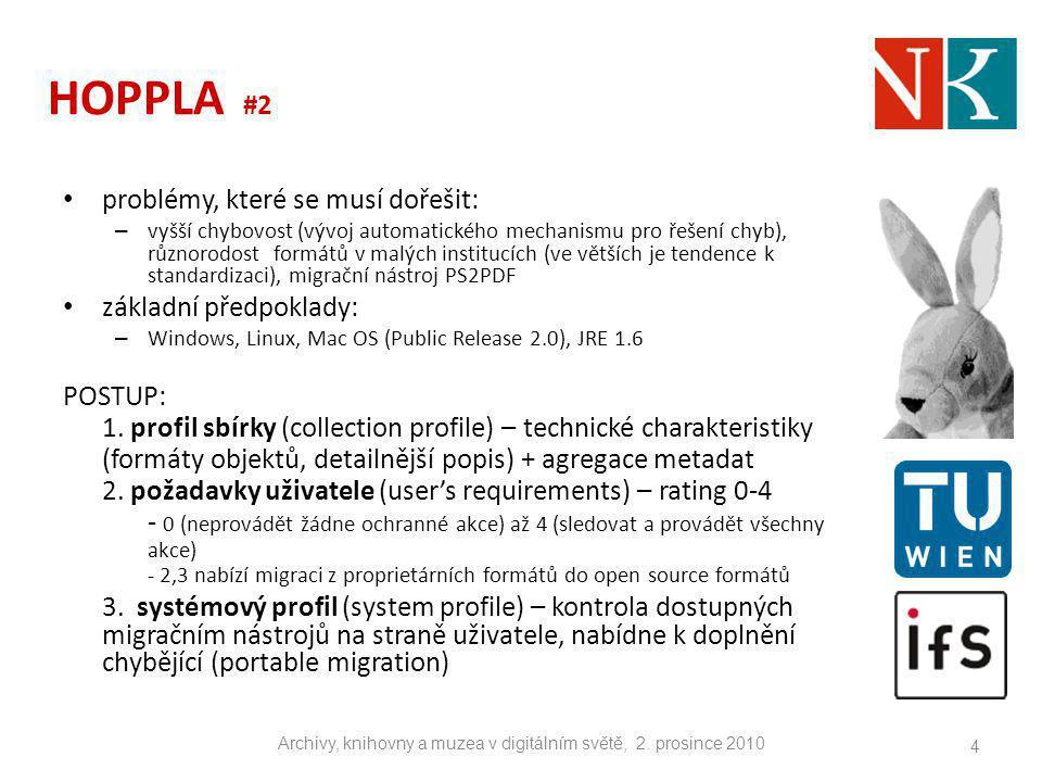 HOPPLA #2 problémy, které se musí dořešit: – vyšší chybovost (vývoj automatického mechanismu pro řešení chyb), různorodost formátů v malých institucíc