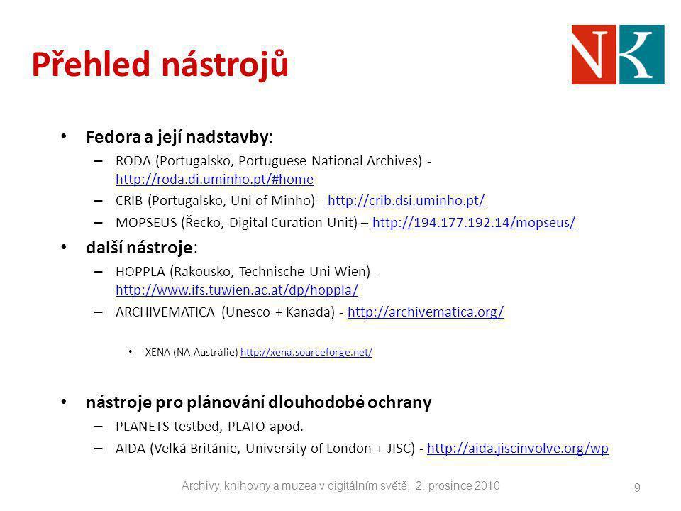 Přehled nástrojů Fedora a její nadstavby: – RODA (Portugalsko, Portuguese National Archives) - http://roda.di.uminho.pt/#home http://roda.di.uminho.pt