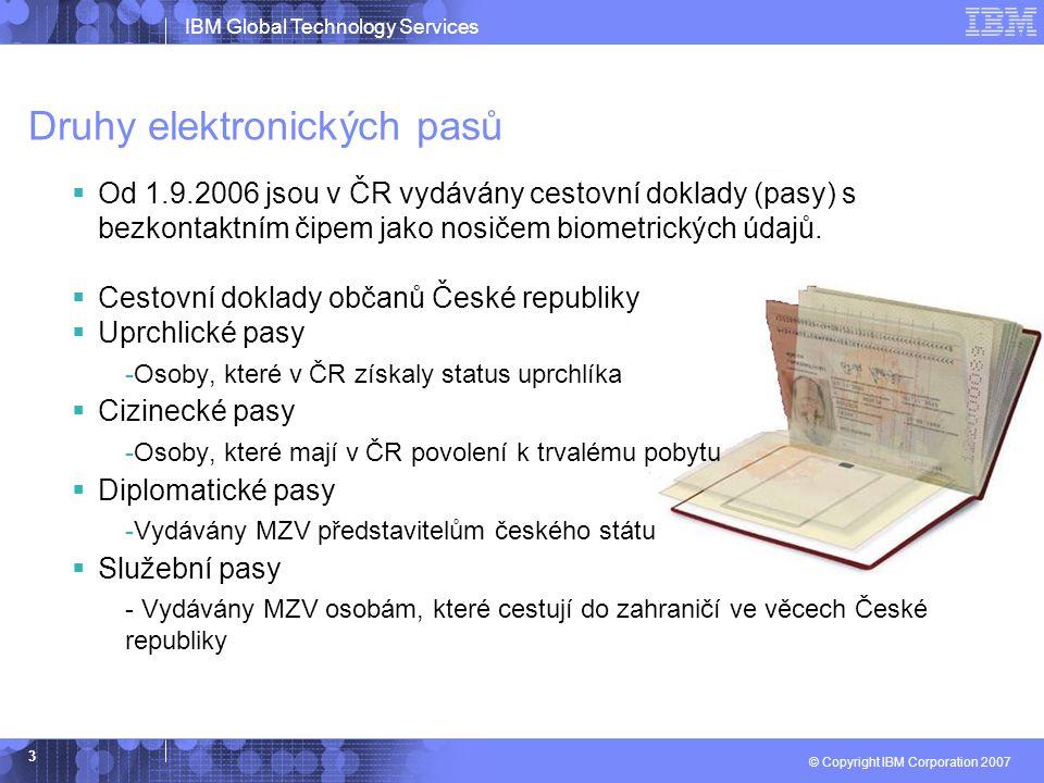 IBM Global Technology Services © Copyright IBM Corporation 2007 3 Druhy elektronických pasů  Od 1.9.2006 jsou v ČR vydávány cestovní doklady (pasy) s bezkontaktním čipem jako nosičem biometrických údajů.
