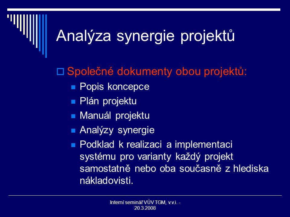 Interní seminář VÚV TGM, v.v.i. - 20.3.2008 Analýza synergie projektů  Společné dokumenty obou projektů: Popis koncepce Plán projektu Manuál projektu