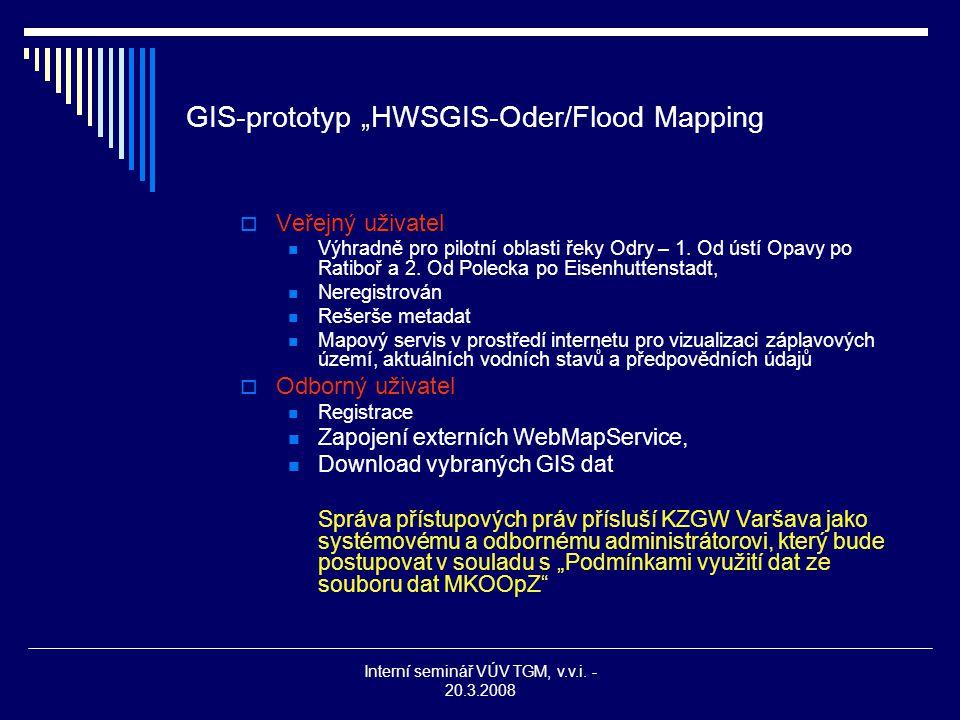 """Interní seminář VÚV TGM, v.v.i. - 20.3.2008 GIS-prototyp """"HWSGIS-Oder/Flood Mapping  Veřejný uživatel Výhradně pro pilotní oblasti řeky Odry – 1. Od"""