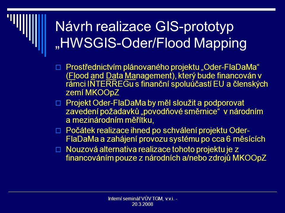 """Interní seminář VÚV TGM, v.v.i. - 20.3.2008 Návrh realizace GIS-prototyp """"HWSGIS-Oder/Flood Mapping  Prostřednictvím plánovaného projektu """"Oder-FlaDa"""