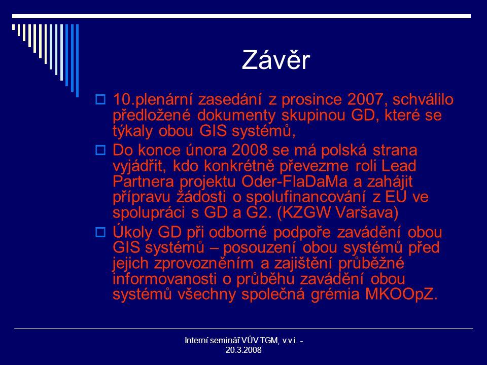 Interní seminář VÚV TGM, v.v.i. - 20.3.2008 Závěr  10.plenární zasedání z prosince 2007, schválilo předložené dokumenty skupinou GD, které se týkaly