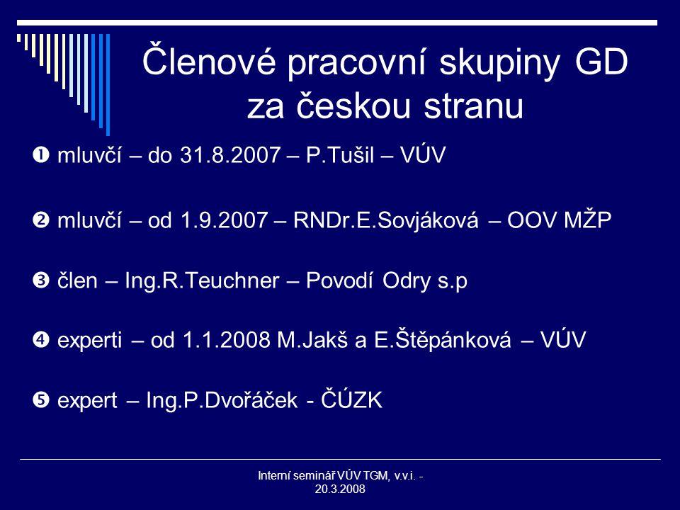 Interní seminář VÚV TGM, v.v.i. - 20.3.2008 Členové pracovní skupiny GD za českou stranu  mluvčí – do 31.8.2007 – P.Tušil – VÚV  mluvčí – od 1.9.200