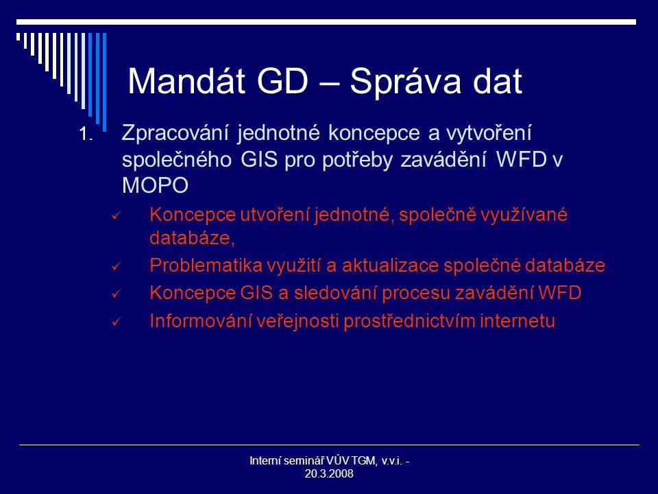 Interní seminář VÚV TGM, v.v.i. - 20.3.2008 Mandát GD – Správa dat 1. Zpracování jednotné koncepce a vytvoření společného GIS pro potřeby zavádění WFD