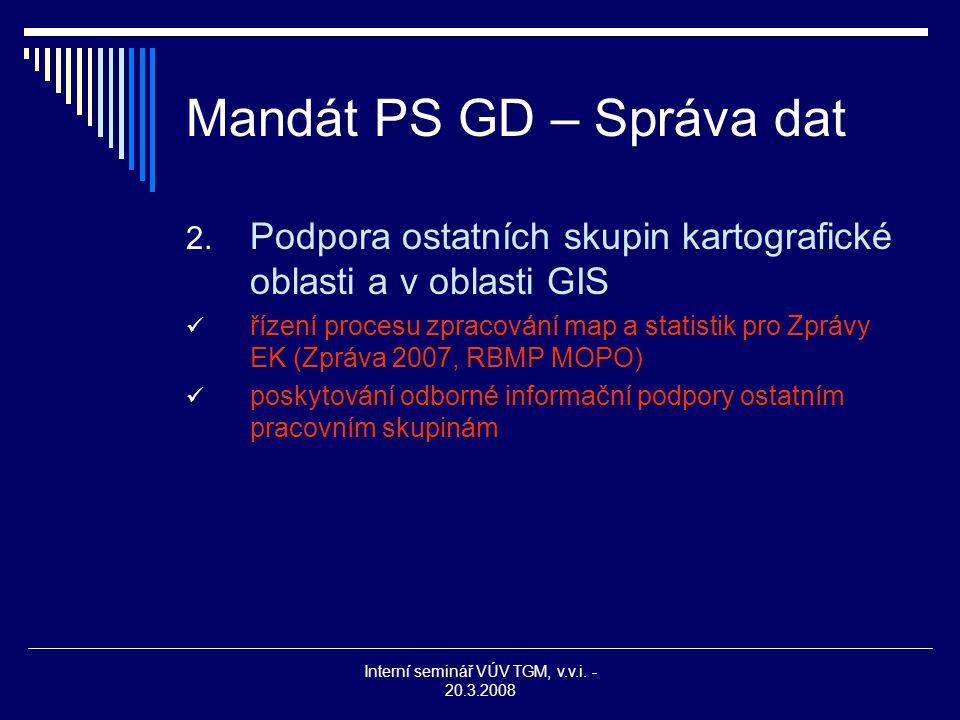 Interní seminář VÚV TGM, v.v.i. - 20.3.2008 Mandát PS GD – Správa dat 2. Podpora ostatních skupin kartografické oblasti a v oblasti GIS řízení procesu