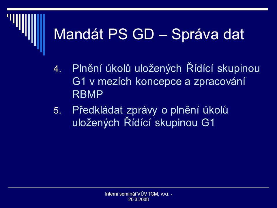 Interní seminář VÚV TGM, v.v.i. - 20.3.2008 Mandát PS GD – Správa dat 4. Plnění úkolů uložených Řídící skupinou G1 v mezích koncepce a zpracování RBMP