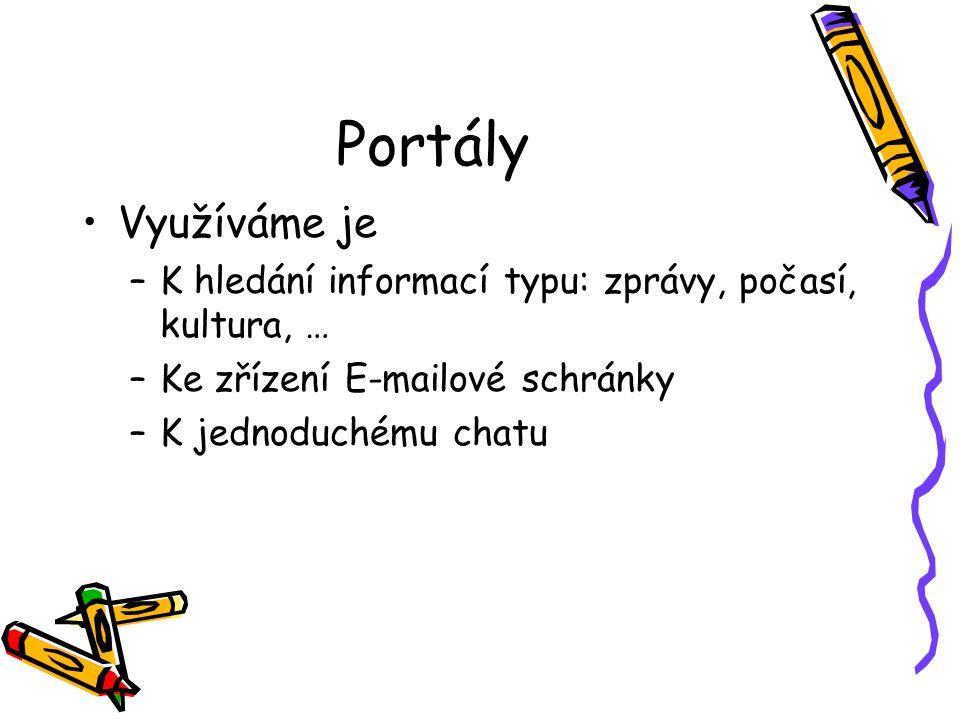 Portály Využíváme je –K hledání informací typu: zprávy, počasí, kultura, … –Ke zřízení E-mailové schránky –K jednoduchému chatu