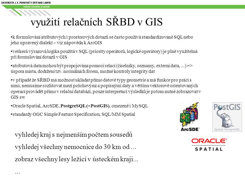 využití relačních SŘBD v GIS k formulování atributových i prostorových dotazů se často používá standardizované SQL nebo jeho upravený dialekt – viz ná