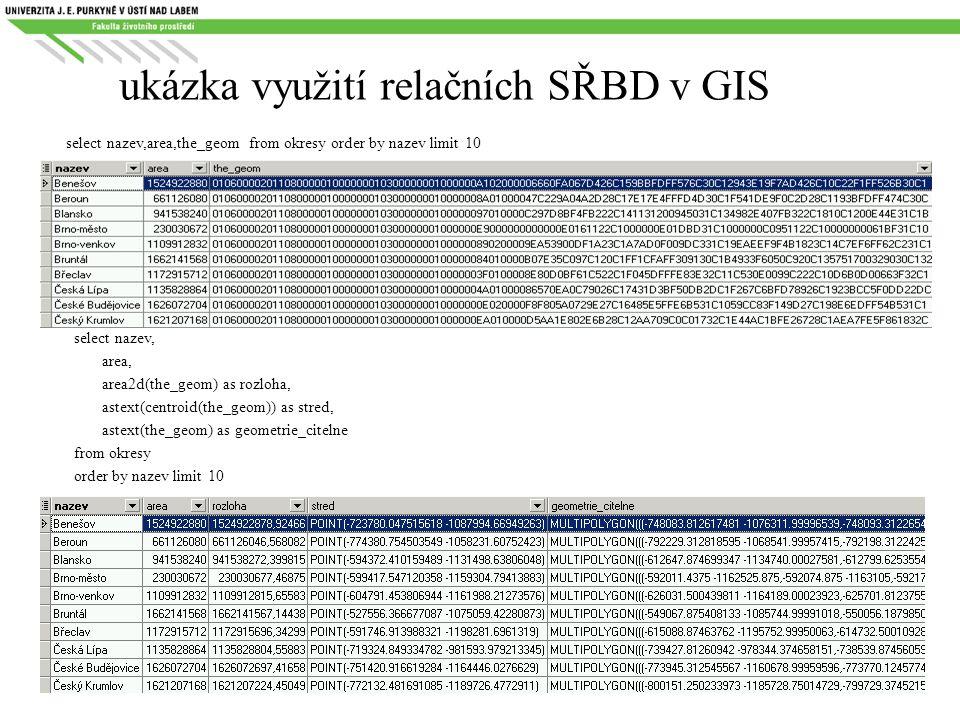 ukázka využití relačních SŘBD v GIS select nazev,area,the_geom from okresy order by nazev limit 10 select nazev, area, area2d(the_geom) as rozloha, as