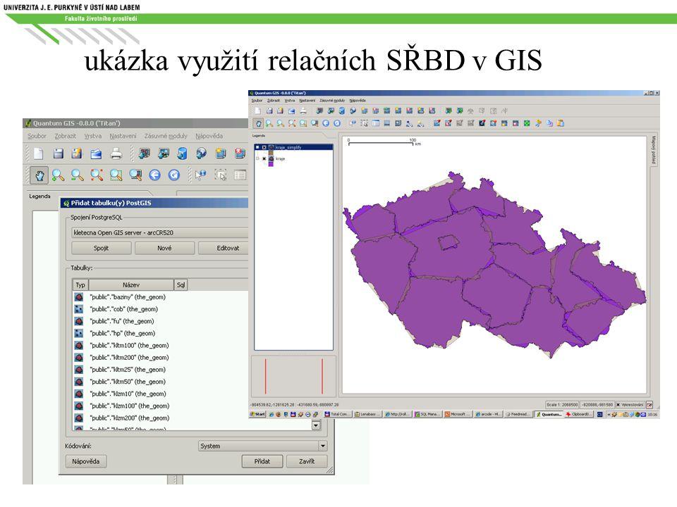 ukázka využití relačních SŘBD v GIS