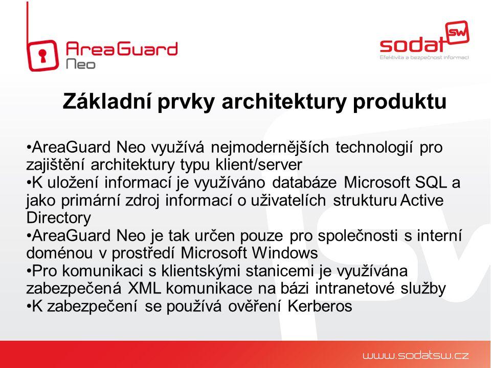 AreaGuard Neo využívá nejmodernějších technologií pro zajištění architektury typu klient/server K uložení informací je využíváno databáze Microsoft SQL a jako primární zdroj informací o uživatelích strukturu Active Directory AreaGuard Neo je tak určen pouze pro společnosti s interní doménou v prostředí Microsoft Windows Pro komunikaci s klientskými stanicemi je využívána zabezpečená XML komunikace na bázi intranetové služby K zabezpečení se používá ověření Kerberos Základní prvky architektury produktu