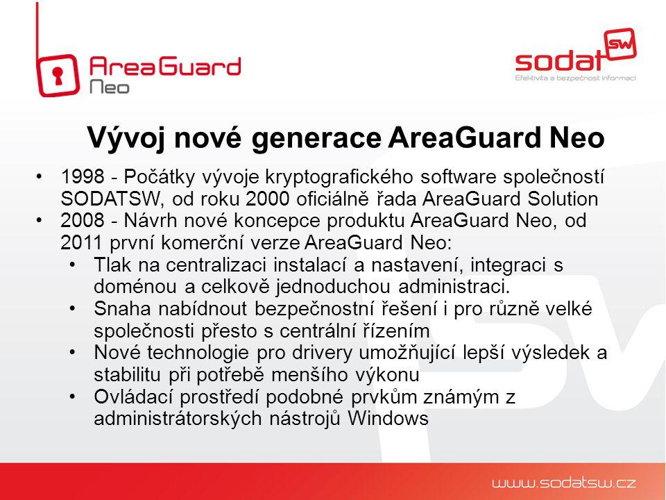 1998 - Počátky vývoje kryptografického software společností SODATSW, od roku 2000 oficiálně řada AreaGuard Solution 2008 - Návrh nové koncepce produktu AreaGuard Neo, od 2011 první komerční verze AreaGuard Neo: Tlak na centralizaci instalací a nastavení, integraci s doménou a celkově jednoduchou administraci.