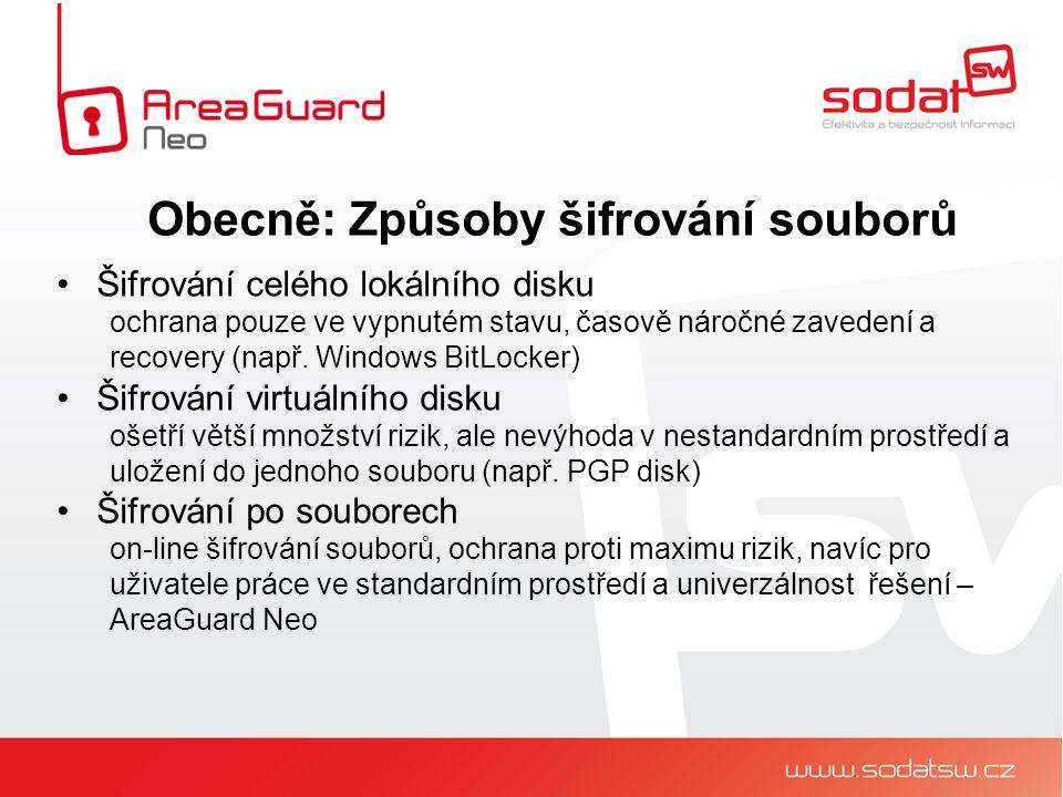 Šifrování celého lokálního disku ochrana pouze ve vypnutém stavu, časově náročné zavedení a recovery (např.