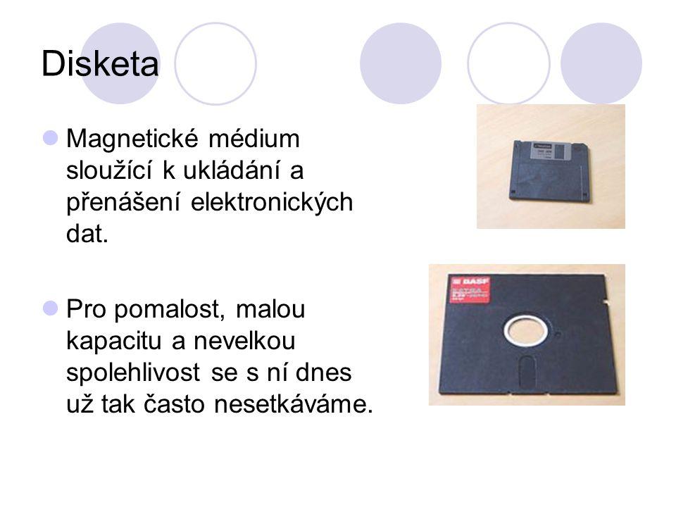 Disketa Magnetické médium sloužící k ukládání a přenášení elektronických dat.