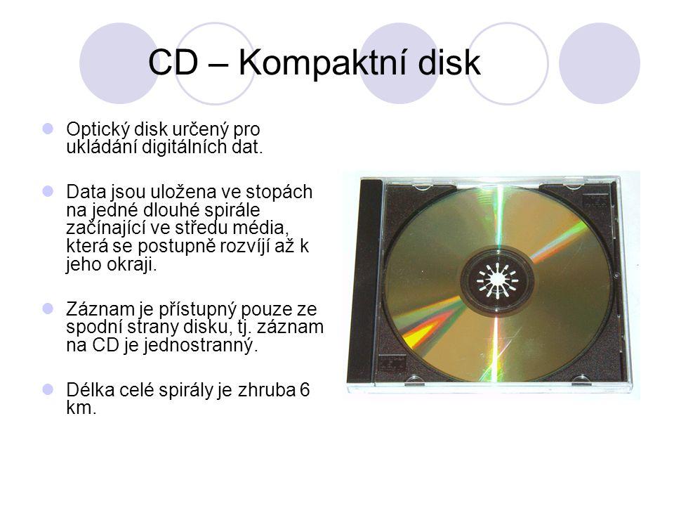 CD – Kompaktní disk Optický disk určený pro ukládání digitálních dat.
