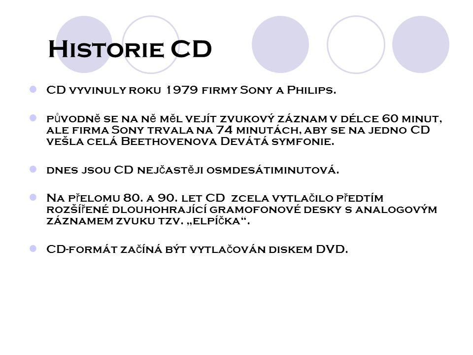 Historie CD CD vyvinuly roku 1979 firmy Sony a Philips.