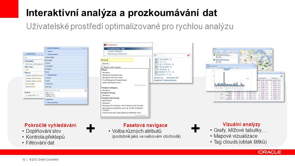 10 | © 2012 Oracle Corporation Interaktivní analýza a prozkoumávání dat Uživatelské prostředí optimalizované pro rychlou analýzu Pokročilé vyhledávání Doplňování slov Kontrola překlepů Filtrování dat Vizuální analýzy Grafy, křížové tabulky,… Mapové vizualizace Tag clouds (oblak štítků) Fasetová navigace Volba různých atributů (podobně jako ve webovém obchodě) ++