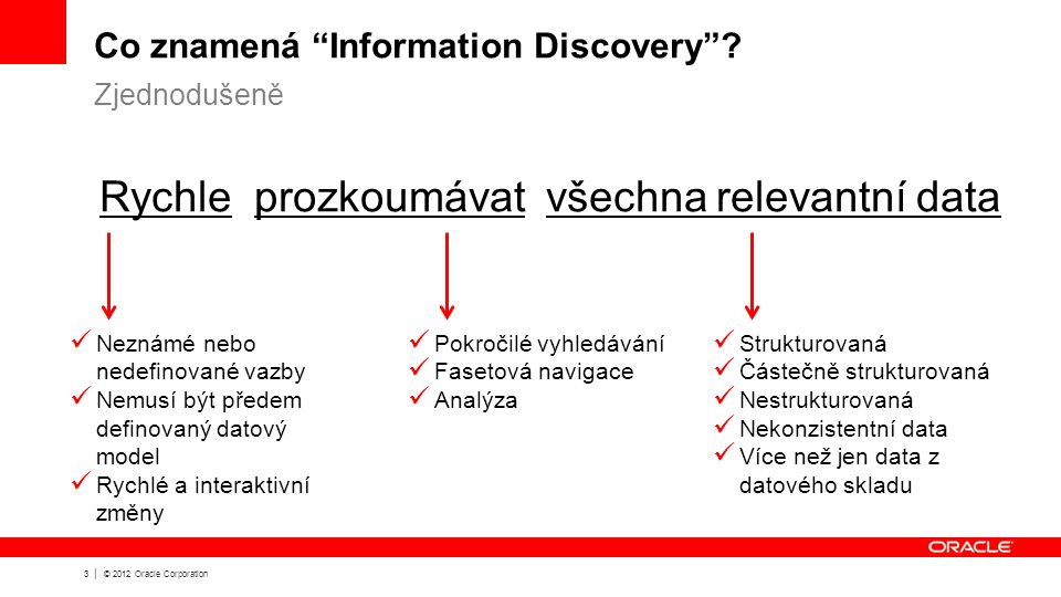 3 | © 2012 Oracle Corporation Co znamená Information Discovery .
