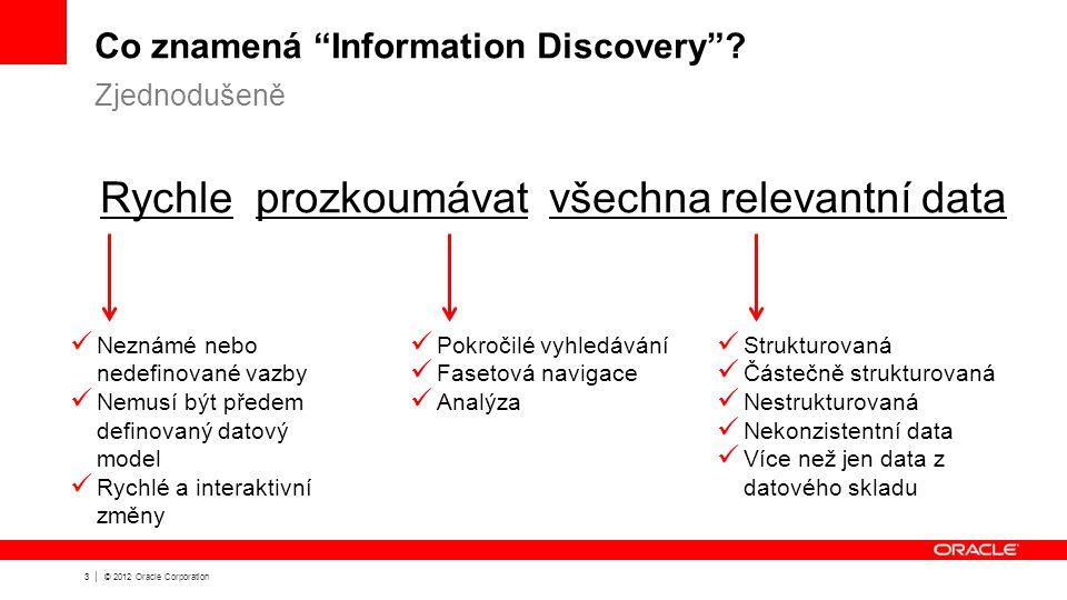 4 | © 2012 Oracle Corporation Růst množství dat a jejich rozličnost přináší nové výzvy Více dat a rozličná data Rychlý růst strukturovaných a nestrukturovaných dat, interních i externích Více neočekávaných otázek Potřeba samoobslužných systémů umožňujících prohledávat data, přidávat nová data a sestavovat nové analýzy Více změn a nejistota Dříve nepředpokládané business potřeby jsou jen stěží řešitelné pomocí stávajících datových modelů, interaktivních panelů a reportů