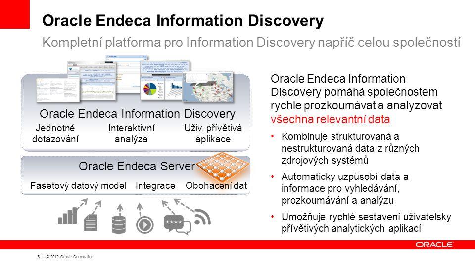 8 | © 2012 Oracle Corporation Oracle Endeca Information Discovery Kompletní platforma pro Information Discovery napříč celou společností Oracle Endeca Information Discovery pomáhá společnostem rychle prozkoumávat a analyzovat všechna relevantní data Kombinuje strukturovaná a nestrukturovaná data z různých zdrojových systémů Automaticky uzpůsobí data a informace pro vyhledávání, prozkoumávání a analýzu Umožňuje rychlé sestavení uživatelsky přívětivých analytických aplikací Fasetový datový modelIntegraceObohacení dat Jednotné dotazování Interaktivní analýza Uživ.