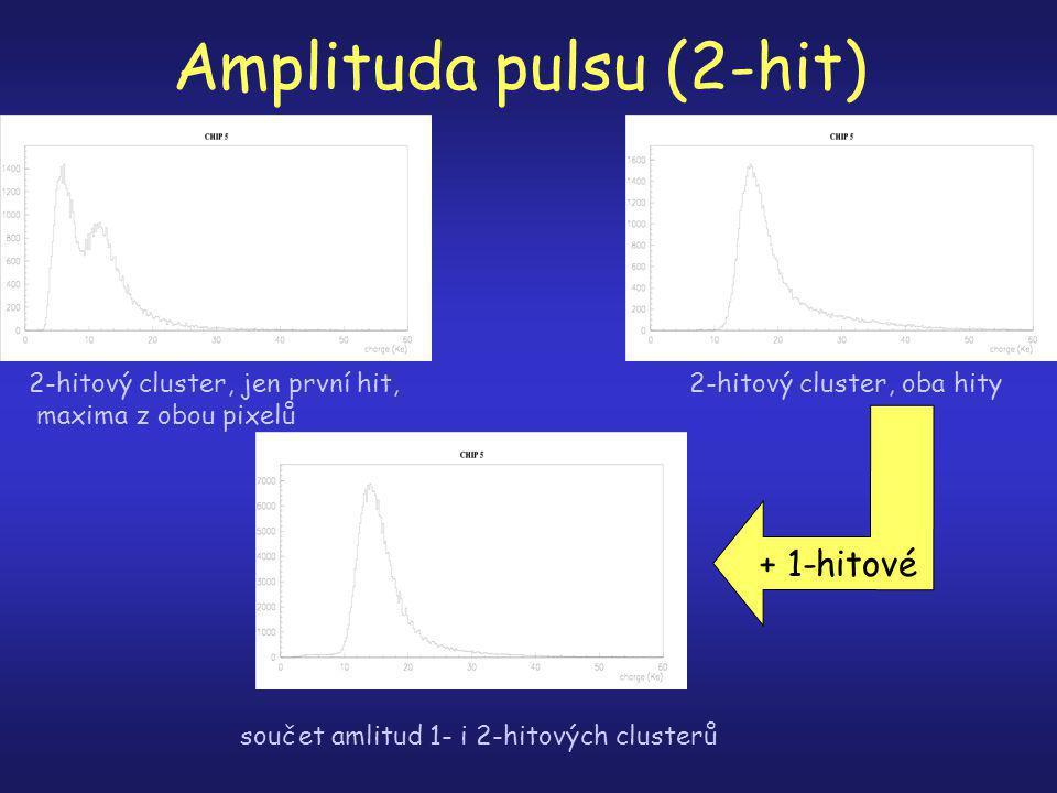 Amplituda pulsu (2-hit) 2-hitový cluster, jen první hit, maxima z obou pixelů 2-hitový cluster, oba hity součet amlitud 1- i 2-hitových clusterů + 1-hitové