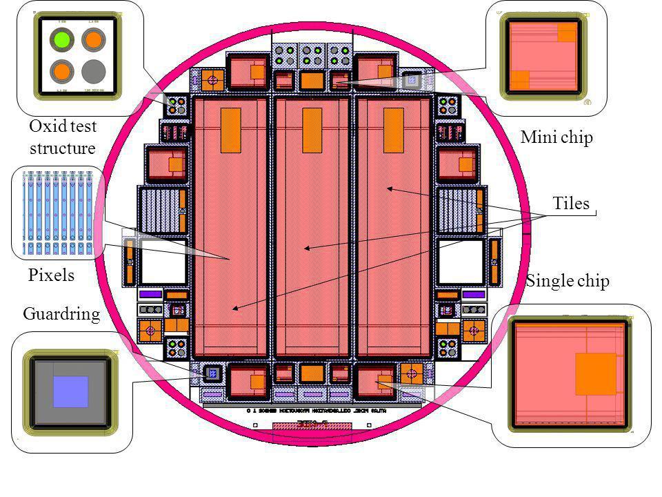 Mini chip Single chip Guardring Oxid test structure Tiles Pixels