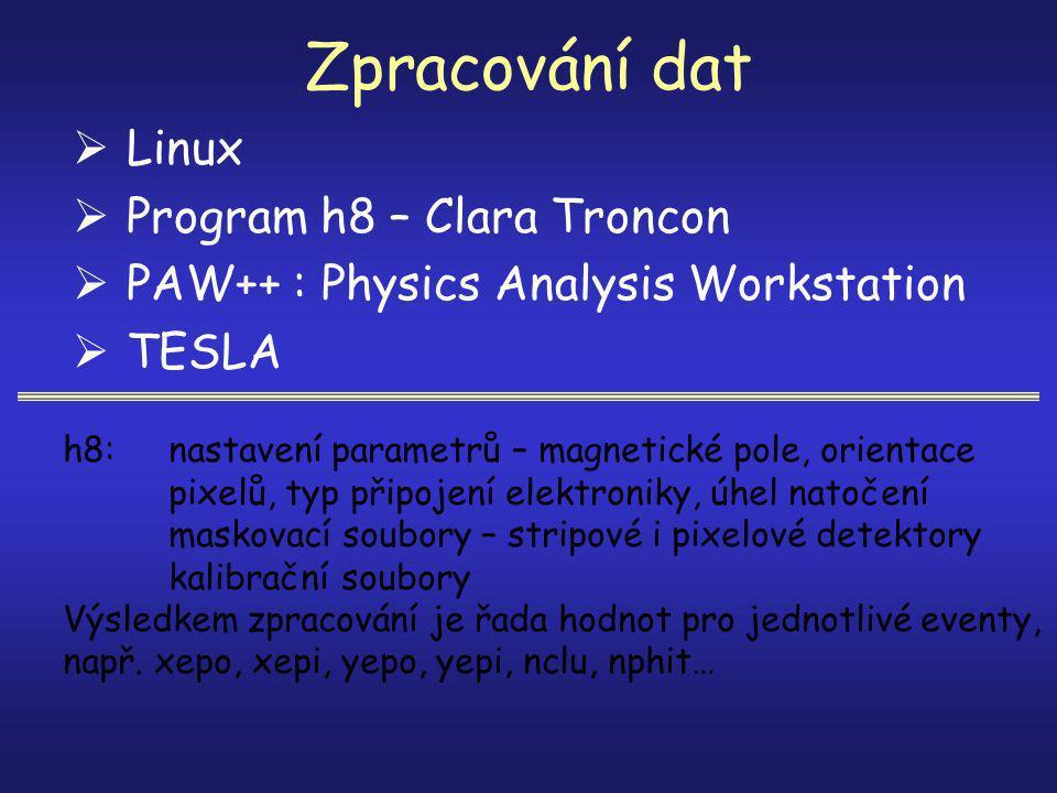 Zpracování dat  Linux  Program h8 – Clara Troncon  PAW++ : Physics Analysis Workstation  TESLA h8: nastavení parametrů – magnetické pole, orientace pixelů, typ připojení elektroniky, úhel natočení maskovací soubory – stripové i pixelové detektory kalibrační soubory Výsledkem zpracování je řada hodnot pro jednotlivé eventy, např.