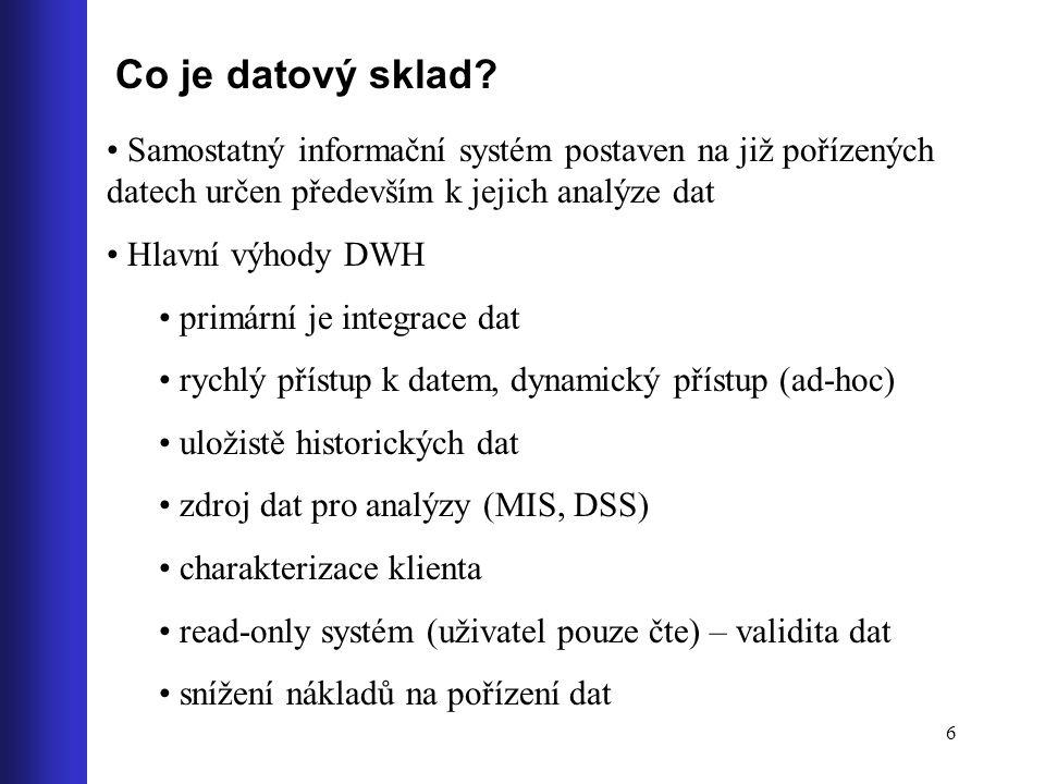 6 Co je datový sklad? Samostatný informační systém postaven na již pořízených datech určen především k jejich analýze dat Hlavní výhody DWH primární j