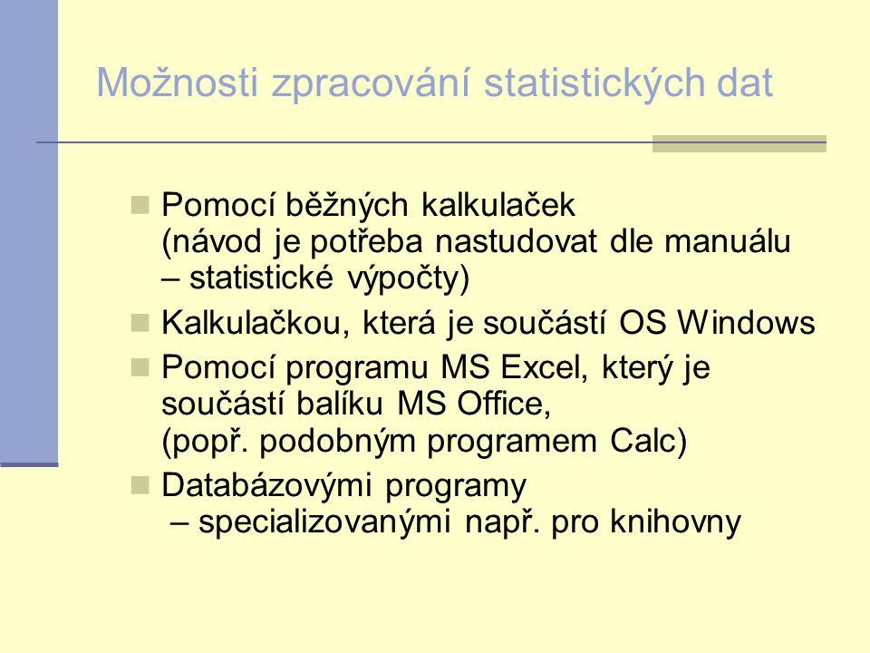Možnosti zpracování statistických dat Pomocí běžných kalkulaček (návod je potřeba nastudovat dle manuálu – statistické výpočty) Kalkulačkou, která je součástí OS Windows Pomocí programu MS Excel, který je součástí balíku MS Office, (popř.