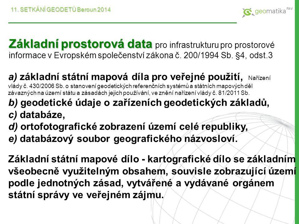 Základní prostorová data Základní prostorová data pro infrastrukturu pro prostorové informace v Evropském společenství zákona č. 200/1994 Sb. §4, odst