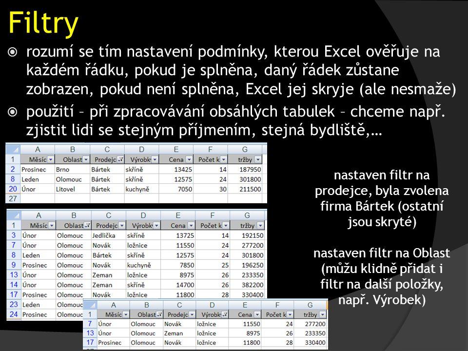 Filtry nastaven filtr na prodejce, byla zvolena firma Bártek (ostatní jsou skryté) nastaven filtr na Oblast (můžu klidně přidat i filtr na další položky, např.