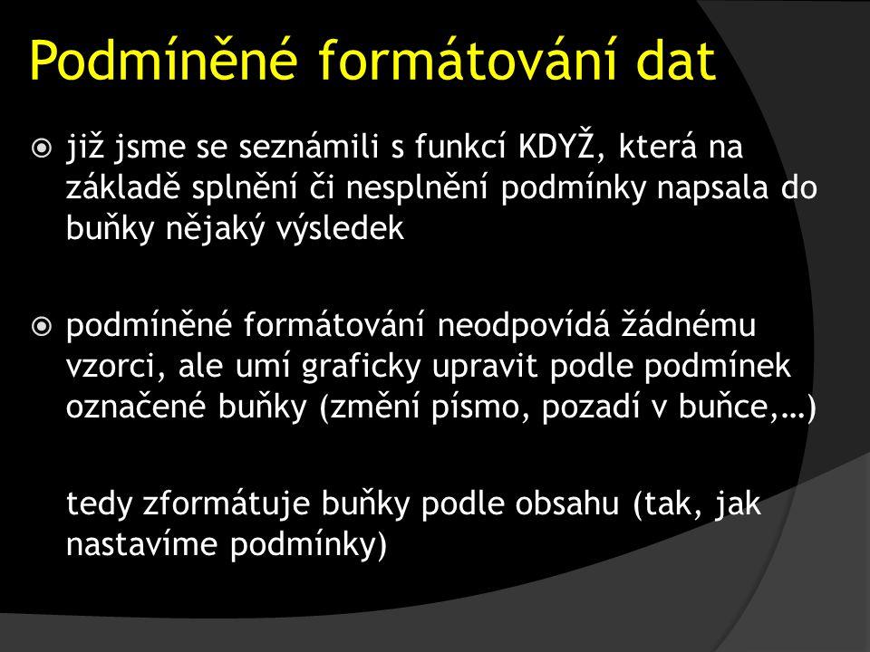 Podmíněné formátování dat  již jsme se seznámili s funkcí KDYŽ, která na základě splnění či nesplnění podmínky napsala do buňky nějaký výsledek  podmíněné formátování neodpovídá žádnému vzorci, ale umí graficky upravit podle podmínek označené buňky (změní písmo, pozadí v buňce,…) tedy zformátuje buňky podle obsahu (tak, jak nastavíme podmínky)