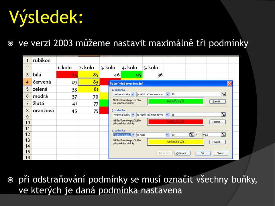 Výsledek:  ve verzi 2003 můžeme nastavit maximálně tři podmínky  při odstraňování podmínky se musí označit všechny buňky, ve kterých je daná podmínka nastavena
