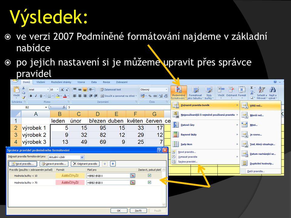 Výsledek:  ve verzi 2007 Podmíněné formátování najdeme v základní nabídce  po jejich nastavení si je můžeme upravit přes správce pravidel