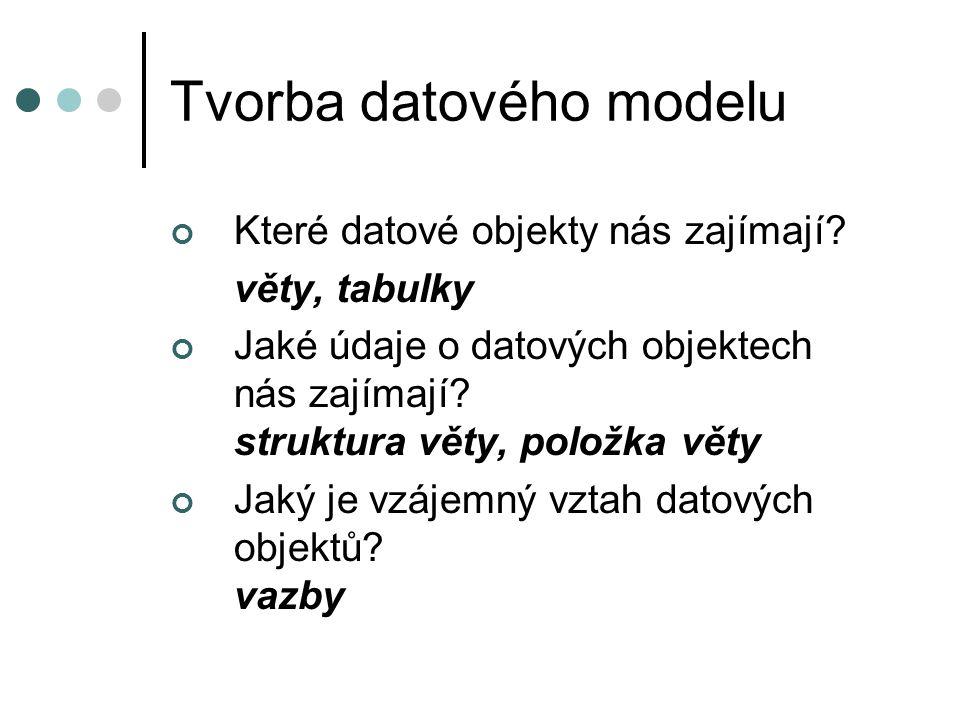 Tvorba datového modelu Které datové objekty nás zajímají? věty, tabulky Jaké údaje o datových objektech nás zajímají? struktura věty, položka věty Jak