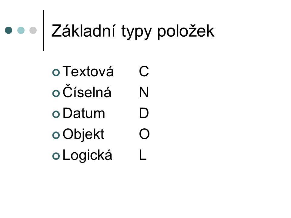 Základní typy položek TextováC ČíselnáN DatumD ObjektO LogickáL