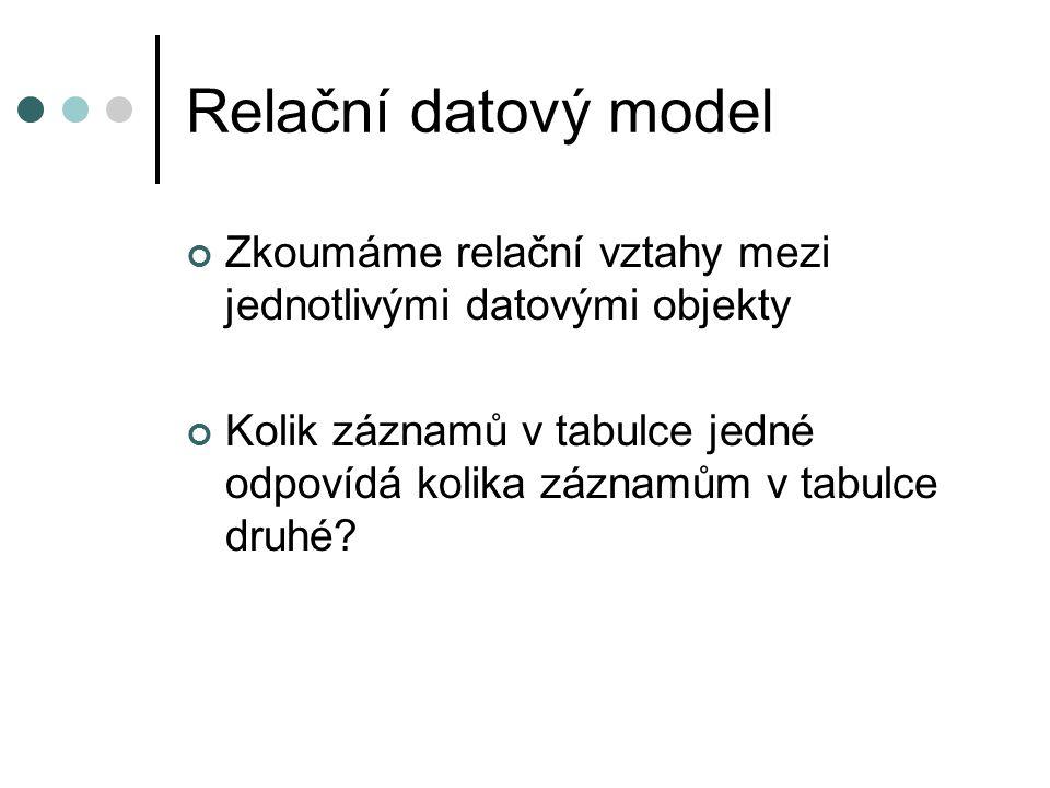 Relační datový model Zkoumáme relační vztahy mezi jednotlivými datovými objekty Kolik záznamů v tabulce jedné odpovídá kolika záznamům v tabulce druhé