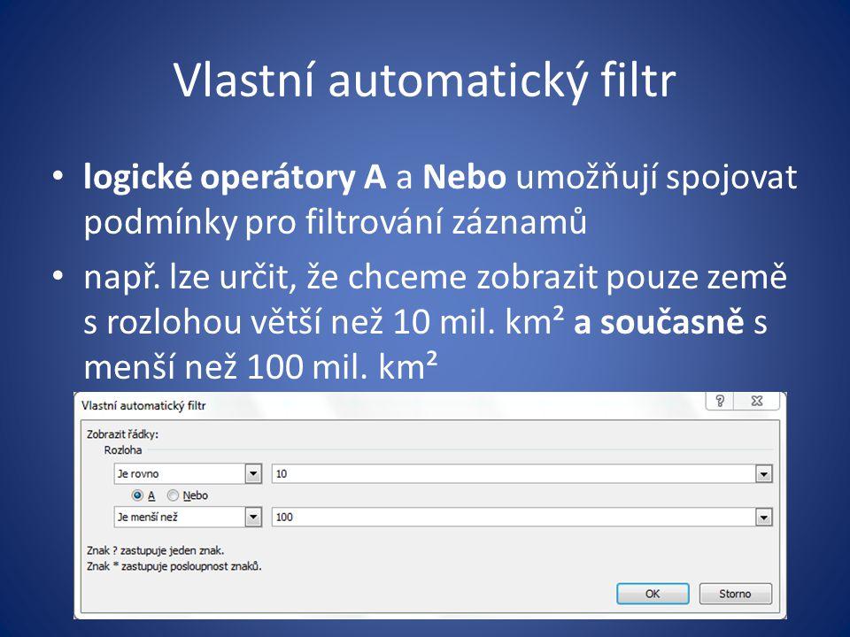 Vlastní automatický filtr logické operátory A a Nebo umožňují spojovat podmínky pro filtrování záznamů např. lze určit, že chceme zobrazit pouze země