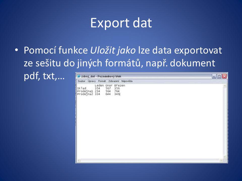 Export dat Pomocí funkce Uložit jako lze data exportovat ze sešitu do jiných formátů, např. dokument pdf, txt,…