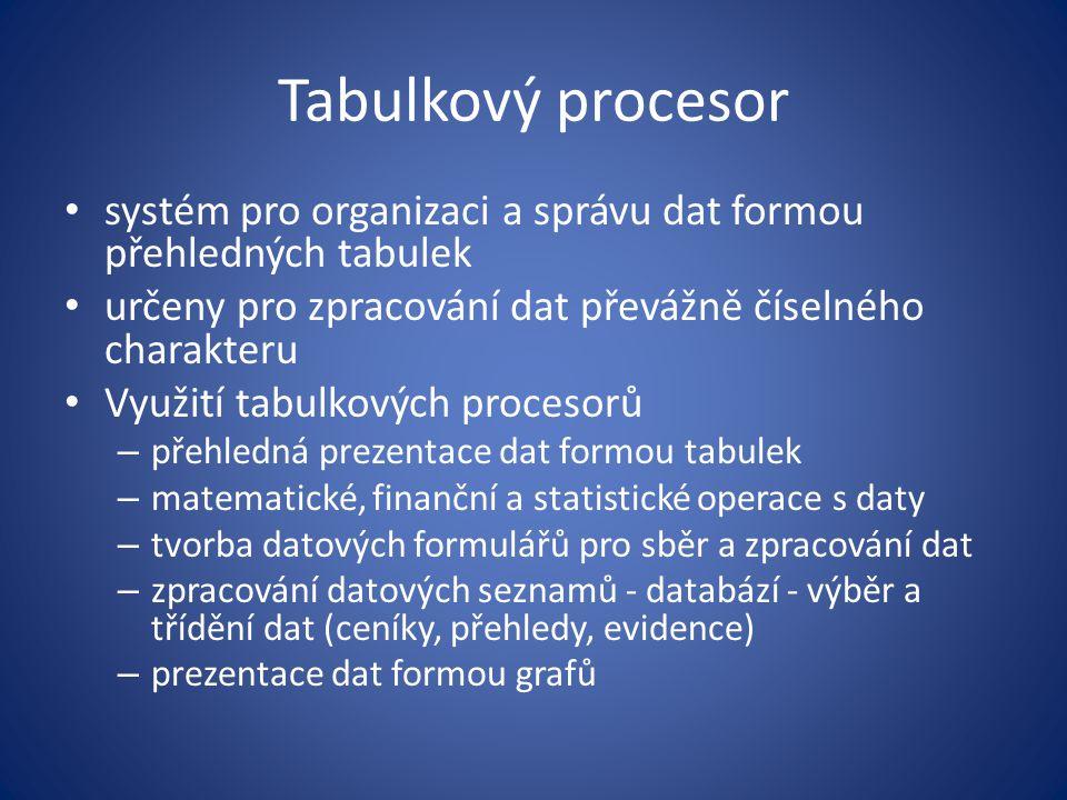 Tabulkový procesor systém pro organizaci a správu dat formou přehledných tabulek určeny pro zpracování dat převážně číselného charakteru Využití tabul