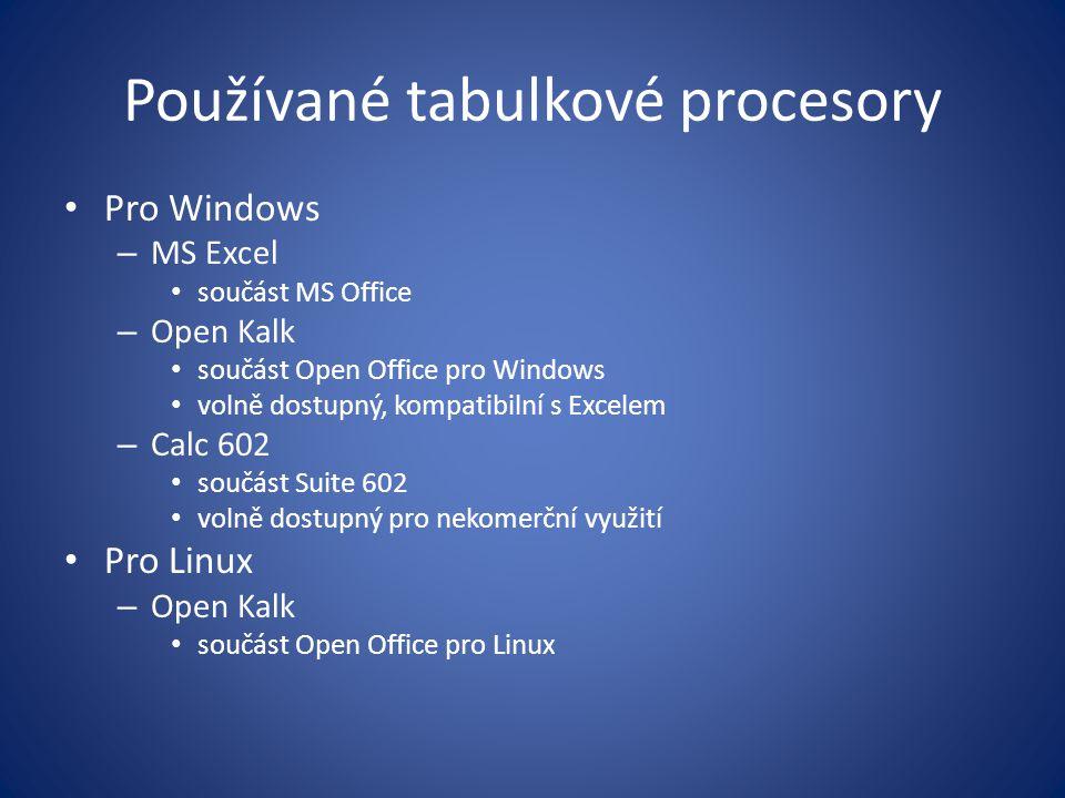 Používané tabulkové procesory Pro Windows – MS Excel součást MS Office – Open Kalk součást Open Office pro Windows volně dostupný, kompatibilní s Exce