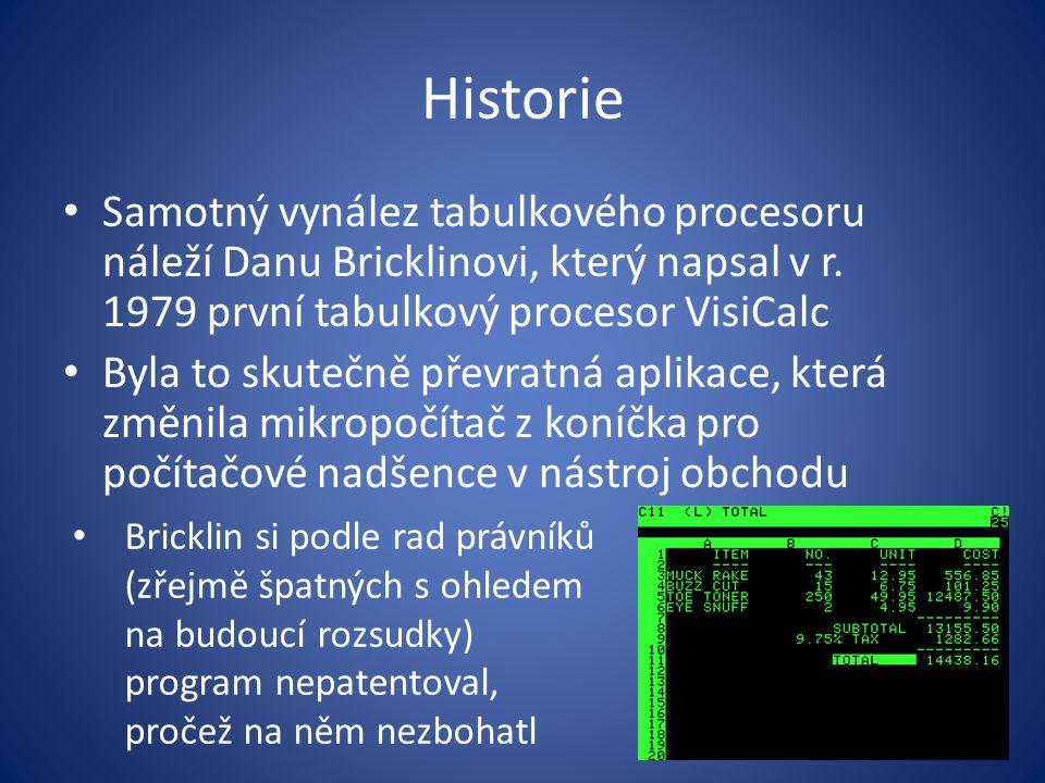 Historie Samotný vynález tabulkového procesoru náleží Danu Bricklinovi, který napsal v r. 1979 první tabulkový procesor VisiCalc Byla to skutečně přev