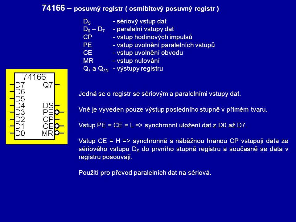 74166 – posuvný registr ( osmibitový posuvný registr ) Jedná se o registr se sériovým a paralelními vstupy dat. Vně je vyveden pouze výstup posledního