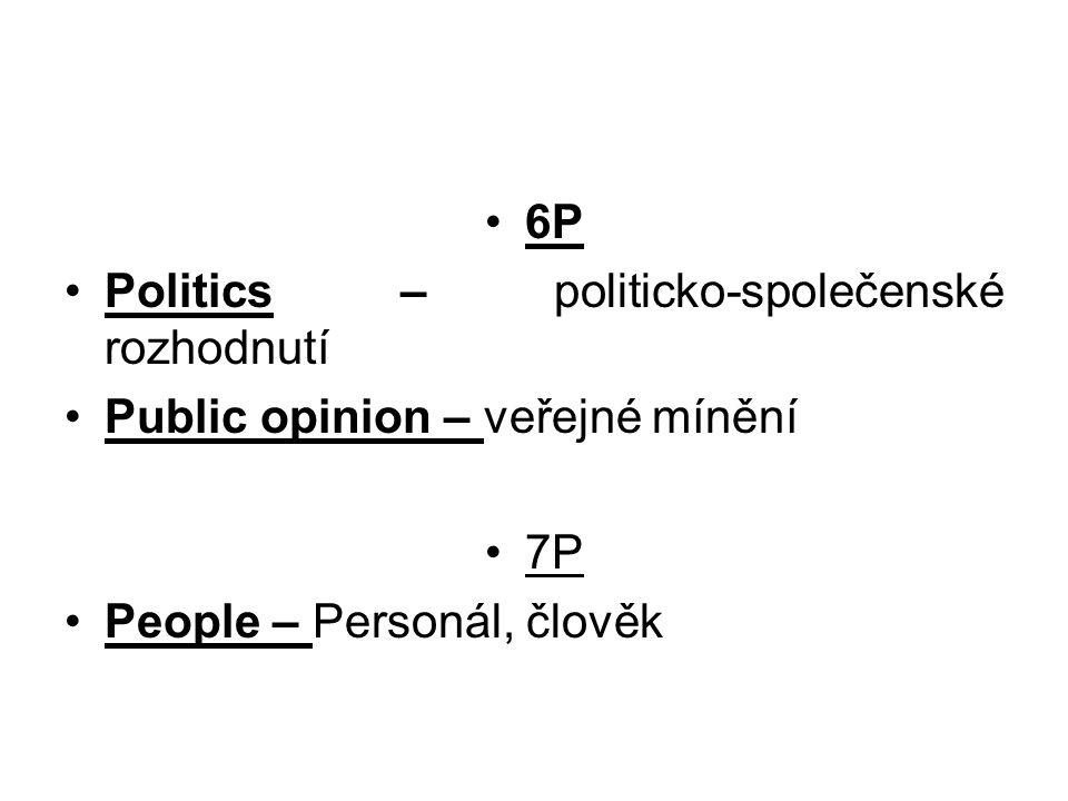 6P Politics – politicko-společenské rozhodnutí Public opinion – veřejné mínění 7P People – Personál, člověk